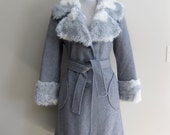 Vintage Wool Coat with Faux Fur Trim