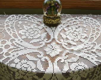 Victorian Filet Lace Tablecover late 1800s Hand done Rare item