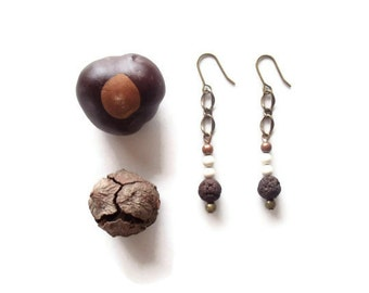 beaded dangle earrings // earth tone jewelry