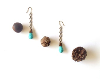long dangle earrings // wire wrapped turquoise jewelry