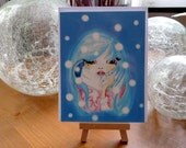 "Christmas card - greeting card - birthday card ""Ice Princess"" - blue haired girl in the snow"