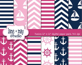 digital scrapbook papers - pink and navy blue nautical theme patterns - INSTANT DOWNLOAD