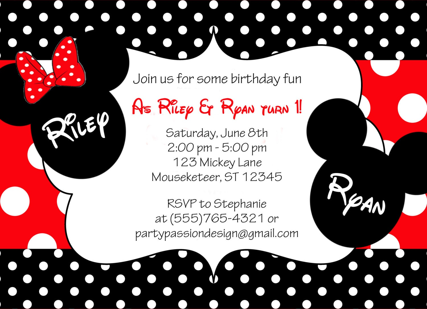 Customized Minnie Mouse Invitations as awesome invitations template