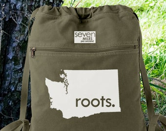 Washington WA Roots Canvas Backpack Cinch Sack