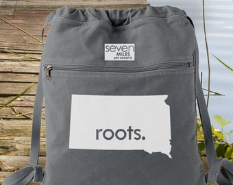 South Dakota SD Roots Canvas Backpack Cinch Sack