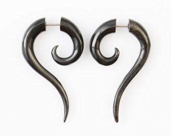 "Fake Gauge - Horn Tribal Earrings - Fake Plug Piercing Jewelry - ""Cat Tails"" Buffalo Horn Earrings - Fake Gauge Earrings - NEW DESIGN"