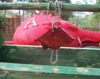 Fallen Cedar Tree Arkansas Razorback Carved pendant reclaimed eco friendly WPS Hogs