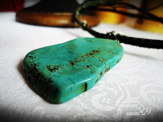 Mens Turquoise Necklace Genuine Green Turquoise Pendant