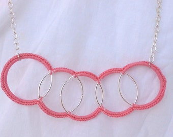 Coral Circle Crochet Necklace