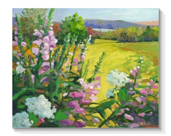 "STUDIO EVENT! Pink ,mountain vista landscape . oil painting . ORIGINAL art ,  20 "" X 24 "" , garden , lake and mountain vistas."