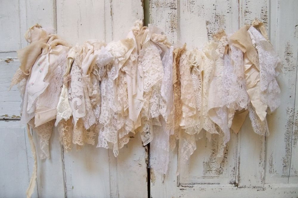 Shabby Chic Fabric Garland Wall Hanging Homemade Romantic