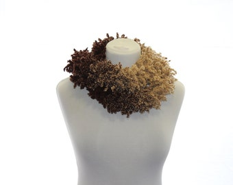 Ruffle Hand knitted scarf  Beige and brown gift for women  Boho chic  Rustic stile Always in Fashion