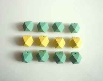 Ash Green and Yellow Pastel Geometric Wood Beads,Hand Painted wood Beads,  Geometric Jewelry,Do it Yourself Geometric necklace