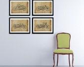 Set of 4, HARLEY DAVIDSON Original Art Prints, Any print 11.5x16 (A3), Save us20, Harley Davidson 1907, 1915, 1921