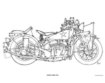 INDIAN 640B 1942 -Original Handmade Drawing Print, 11.5x16 in. (29x41 cm), Limited Edition print, cool gift