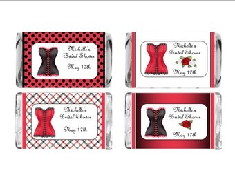 Personalized Lingerie Bridal Shower Mini chocolate bar stick on wrappers - sheet of 18