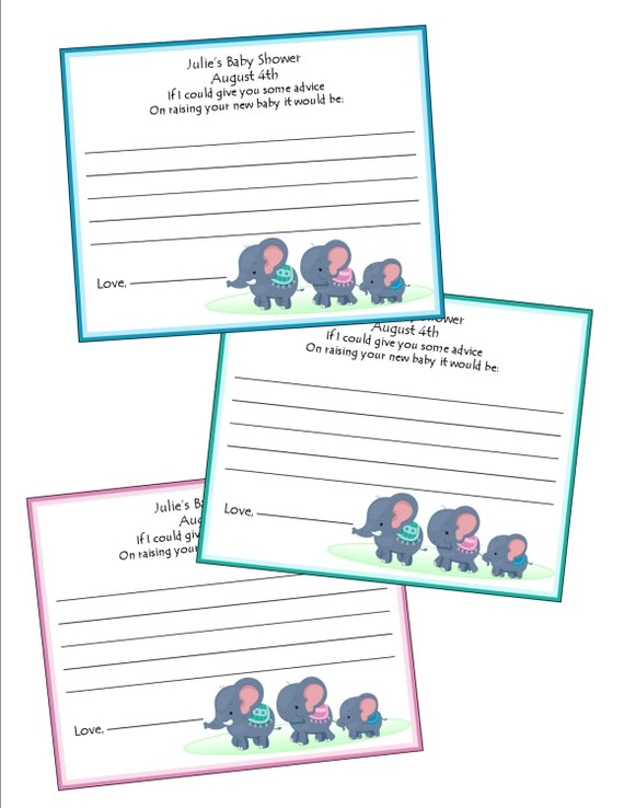 baby shower elephant theme advice cards personalized set of 12