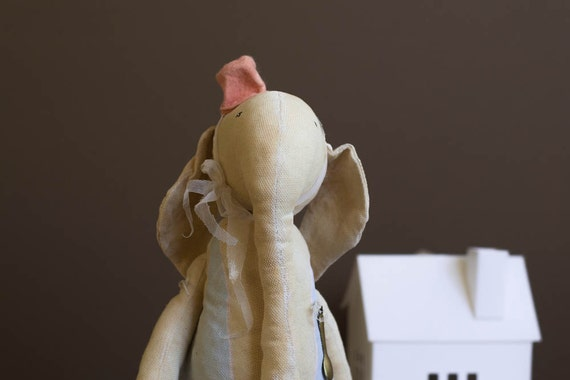 Elephant Toy - Cotton Stuffed Animal - Soft Toy  - Woodland nursery