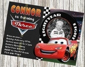 Lightning McQueen Disney Cars Birthday Invitation - Custom with Photo