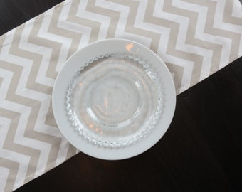 Chevron Table Runner in Taupe & White ? Ready to Ship