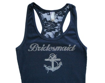 Bridesmaid Tank Top, Bridesmaid Shirts, Bridesmaid Gift, Bride Shirt, Bride Tank, Maid of Honor Gift, Maid of Honor Shirt, Rhinestone Anchor