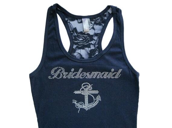 Bridesmaid Tank Top, Bridesmaid Shirts, Bridesmaid Gift, Bride Shirt, Bride Tank, Maid of Honor Gift, Maid of Honor Shirt, Rhinestone Anchor