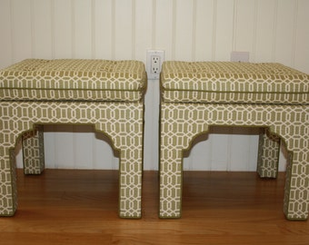 SALE Pair upholstered Chinese Chippendale Pagoda bench stool ottoman geometric fabric reproduction green