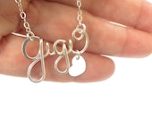 Name Necklace/ Personalized Teen Name/ Custom Name with Heart Necklace/ Sterling Silver/Gold Name Necklace/ Bridesmaid Gift/ Valentine's Day