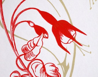 Art Nouveau : Fushias in Red and Gold - limited edition screenprint