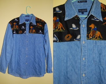 COWBOY PRINT Denim Shirt