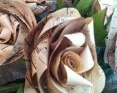 Vintage Melody Flower -  Large Sheet Music Paper Long Stem Rose