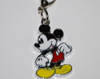 Cute Disney Mickey Mouse Enamel Clip Charm, zipper pull, backpack, cell phone, purse clip, bracelet, necklace or scrapbooking.