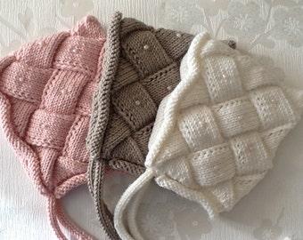 Hand Knitted BEATRICE Beaded Pixie Bonnet NB-6 Months,Entrelac Pixie Bonnet Hat,Hand knitted Beaded Bonnet.Custom Order.