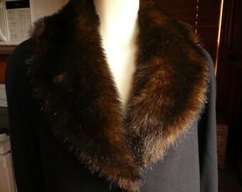 Vintage 80s JO-D Dark Navy Blue Faux Fur Collar Midi Calf Wool Coat M Petite