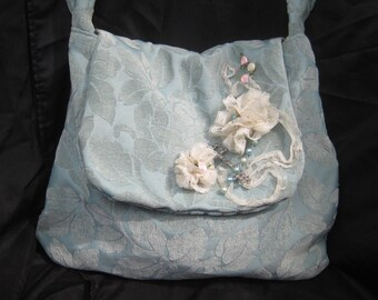 Shabby boho bag purse, gypsy bohemian aqua purse