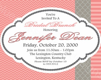 Preppy Bridal Luncheon Invitation- pink chevron / stripe and gray