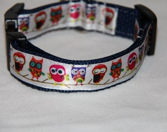 Owl Dog Collar, owls, Adjustable dog collar, FREE SHIPPING