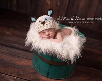 Crochet Hat//Newborn Props//Newborn Hat//Crocheted Puppy Dog Set//Crochet Hat & Bone//Baby Shower Gift//Newborn Boy Hat//Animal Hat