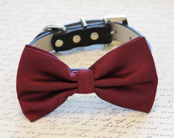 Burgundy Dog Bow Tie with high quality black leather collar - Chic dog Bow tie