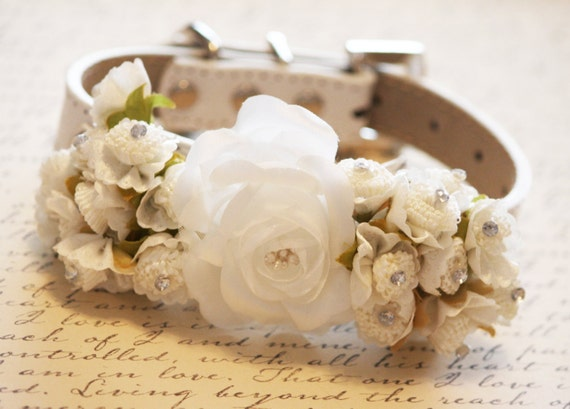 ivory wedding dog collars with white flowers high quality dog collar