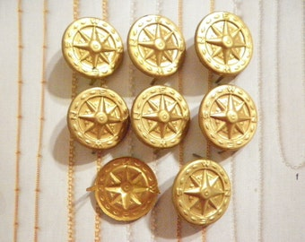 8 Vintage Brass 25mm Compass Buttons with Prongs