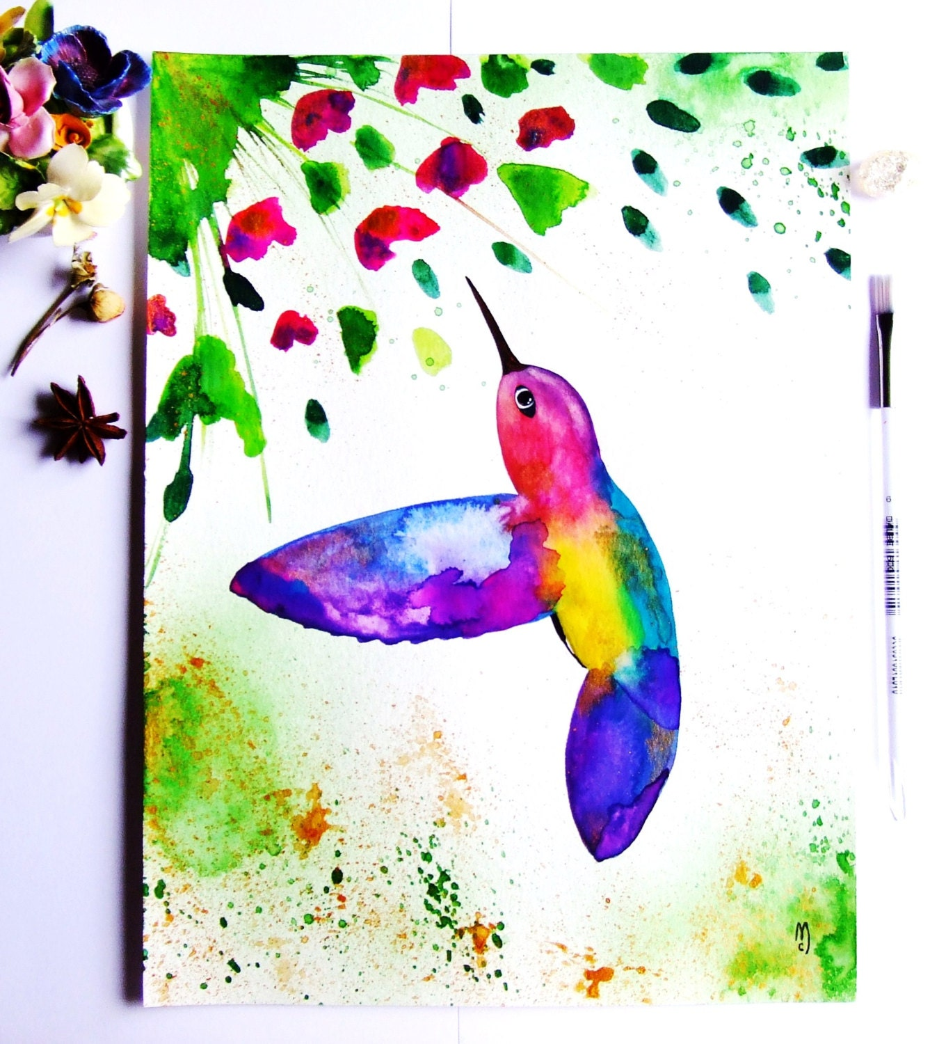 Hummingbird watercolor ink bird painting hummingbird decor for Hummingbird decor