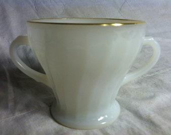 Vintage Milk Glass Anchor Hocking SUGAR BOWL Spiral Design