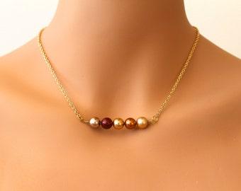 Pearl Necklace, Swarovksi Pearl Necklace, Autumn Pearl Necklace, Gold Necklace, Vintage Style, Bridesmaid Necklace, Lightweight AUTUMN