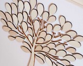Custom wedding guest book alternative - 3D Wedding Tree Baby Shower Tree - wood rustic wedding guest book - Tree of Life - 60 leaves