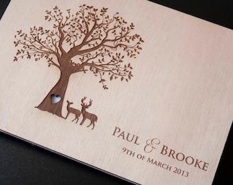 "Custom Wedding guest book wood rustic wedding guest book album bridal shower engagement anniversary - ""Wedding in the Woods"""