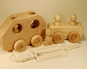 Wooden Toy Car and Trailer - Personalized and Organic