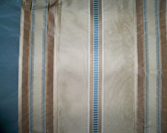 SILK LOOM Inc MABEL Silk Stripes Fabric 10 yards Beige Blue Brown Gold