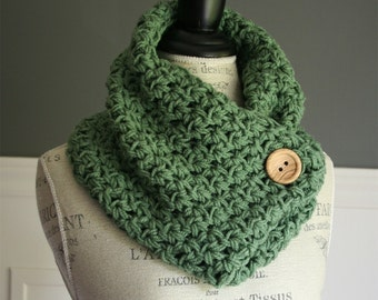 Sage Green Cowl Neck Scarf with wooden button, crocheted