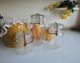3 Vintage HAZY Atlas E-Z Seal Jars with Wire Bails and Glass Lids Quart Pint and Half Pint Sized B1255